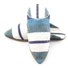Striped slippers made of Carpet Kilim Blue and White fabric for Women - moroccan