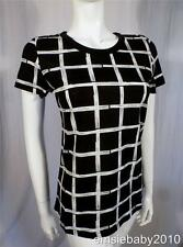 French Connection Womens Black & White Check Square Print T-Shirt Top Small 8 10
