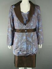 MICHEL AMBERS SILK 3 PIECE COFFEE & BLUE LONG JACKET, TOP & SKIRT SUIT SIZE18-20