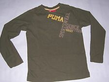 TEE SHIRT Manches longues enfant Puma neuf taille 8 ou 10 ans coloris vert olive