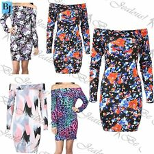 New Womens Ladies Floral Summer Sunny Bardot Off the Shoulder Bodycon Mini Dress