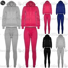 Womens Ladies Plain Fleece Hooded Hoody Top Jogsuit Bottom Jogger Pant Tracksuit