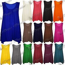 Womens Ladies Plain Basic Ruched Sleeveless Baggy Fit Flare Swing Dress Long Top