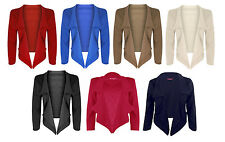 NEW LADIES OPEN FRONT CROPPED WATERFALL BLAZER JACKET SIZE 8-14