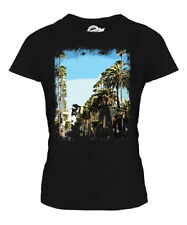 L.A. LOS ANGELES GRUNGE PRINT LADIES T-SHIRT TOP BEACH WHITE SHORT SLEEVE TOP