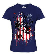 STARS AND STRIPES ABSTRACT PRINT LADIES T-SHIRT USA UNITED STATES AMERICA FLAG