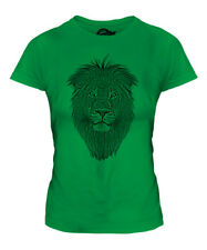 LION FACE SKETCH LADIES PRINTED T-SHIRT TOP BIG CAT KING OF THE ANIMALS