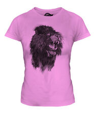 ROARING LION SKETCH LADIES PRINTED T-SHIRT TOP BIG CAT KING OF THE ANIMALS