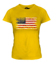 STARS AND STRIPES DISTRESSED FLAG LADIES T-SHIRT TOP USA UNITED STATES AMERICA
