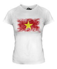 VIETNAM DISTRESSED FLAG LADIES T-SHIRT TOP VIET NAM SHIRT VIETNAMESE JERSEY GIFT