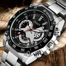 ZHONGYI Black/White Dial Men Analog Quartz Stainless Steel Business Wrist Watch