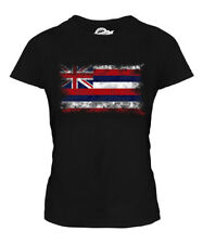 HAWAII STATE DISTRESSED FLAG LADIES T-SHIRT TOP HAWAIIAN SHIRT JERSEY GIFT