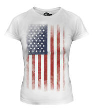 STARS AND STRIPES FADED FLAG LADIES T-SHIRT TEE TOP USA US UNITED STATES AMERICA