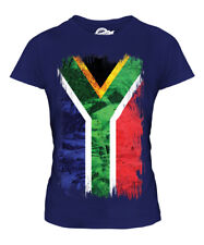 SOUTH AFRICA GRUNGE FLAG LADIES T-SHIRT TOP SUID-AFRIKA FOOTBALL AFRICAN SHIRT