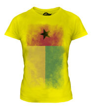 GUINEA BISSAU FADED FLAG LADIES T-SHIRT TEE TOP GUINE-BISSAU FOOTBALL GUINEAN