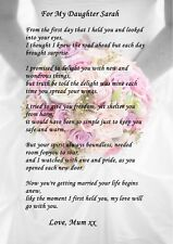 Wedding Day Gift For My Daughter : PERSONALISED DAUGHTER ON WEDDING DAY POEM GIFT IDEAL TO FRAME A4 OR ...