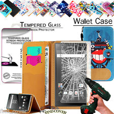 Leather Wallet Case+100% Tempered Glass Screen Protector For Sony Xperia phone