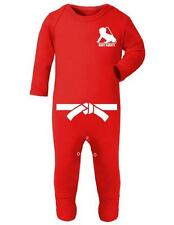 """Baby Romper """"Baby Karate with White Belt"""" Karate Baby, Strong Baby -Baby Romper"""