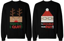 His and Her Funny Christmas Matching Couple Sweatshirts - Rudolph and Santa