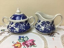 Vintage English Ironstone Old Willow Blue & White Lidded Sugar Bowl & Milk Jug
