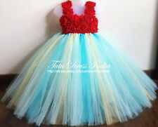 BLUE GREEN TUTU DRESS REAL PICTURE FOR GIRL INFANTS - BIRTHDAY, PARTY, FREE BAND