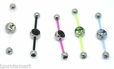 New PTFE 2 Two Way Double Piercing Gem Belly Navel Curve Banana Bar UK Post
