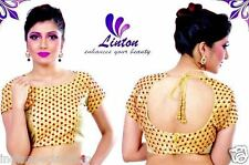 Designer Boatneck Polka Dots Embroidery Brocade Saree Blouse Assorted Colours