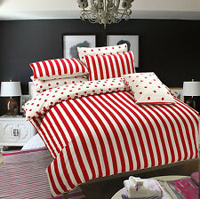 Duvet Cover with Pillow Case Quilt Cover Bedding Set-Red Stripe -free postage