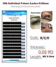 Russian Volume Lashes 2D-9D Individual Eyelash Extensions 0.05 /C / 15mm