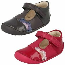INFANT GIRLS CLARKS LEATHER RIPTAPE T BAR CRUISERS FIRST SHOES LITTLE CAZ