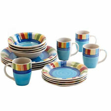 16 32 Piece Stripe Dinnerware Set Dining Plates Dishes Bowls Cups Mugs Place Tex