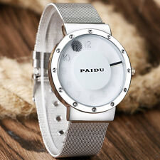 Casual Turntable Sport Quartz Stainless Steel Mesh Men Women Student Wrist Watch