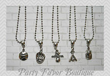 Softball Set of 5 Silver Charm Necklaces / Personalize-Birthstone, Initial