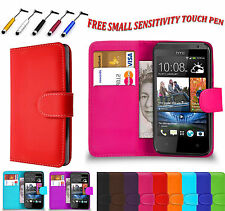 PU Leather Side Book Wallet Flip ID Case Cover Holder For HTC Various Phones