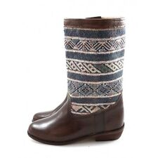 Berber Carpet Boots made of Leather and Blue Kilim - women shoes - Moroccan leat