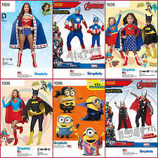 New Simplicity Sewing Pattern Super Hero Halloween Costume BatGirl Super + UPick