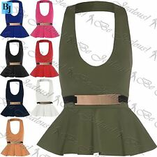 Womens Ladies Halter Neck Backless Peplum Top Bodycon Sleeveless Mini Dress