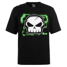 MENS BLACK NO FEAR SKULL GLOW IN THE DARK LOGO MOTO CROSS TEE SHIRT T-SHIRT TOP