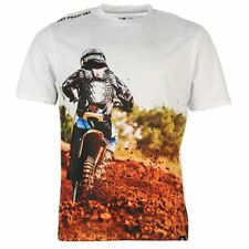 MENS WHITE NO FEAR DIRT BIKE RIDER MOTO X CROSS CREW ECK TEE SHIRT T-SHIRT TOP