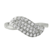 Sterling Silver Angel Wing Christ CZ Fashion Ring for Girls