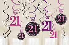 Pink Sparkling Celebration | Happy 21st Party Hanging Swirls Decorations 1-60pk