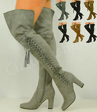 NEW WOMENS LADIES OVER THE KNEE BOOTS HIGH BLOCK HEEL SEXY SHOES SIZE UK 3-8