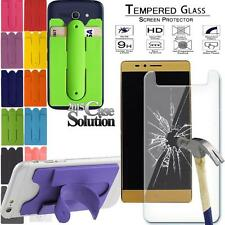 Tempered Glass Screen Protector+Silicone stand card holder For Elephone Phone