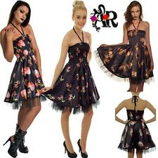 HALTER NECK POINSETTA & DAGGER SKULL CHERRIES VAMPIRE DRESS  GOTHIC ALTERNATIVE