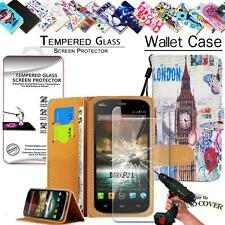 Leather Wallet Case +Tempered Glass Screen Protector For Wiko Phone