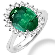 Silver Dew 925 Sterling Silver Single Halo Emerald CZ Ring