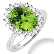 Silver Dew 925 Sterling Silver Single Halo Peridot CZ Ring