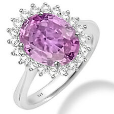 Silver Dew 925 Sterling Silver Single Halo Pink CZ Ring