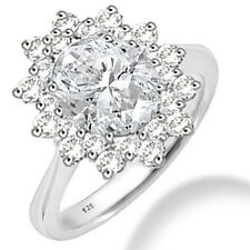 Silver Dew 925 Sterling Silver  Halo White CZ Ring