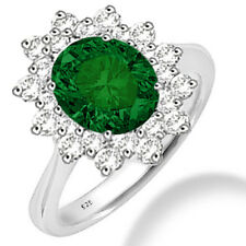 Silver Dew 925 Sterling Silver  Halo Emerald CZ Ring